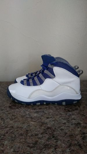 Kids blue and white Air Jordans kids size boys 4 YOUTH for Sale in Manheim, PA