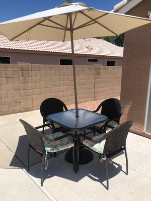 Patio Table w4/chairs & Umbrella😎 Another Time Around Furniture 2811 E. Bell Rd for Sale in Phoenix, AZ