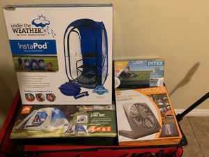 Brand new camping gear,tent air mattress fan, insta pod for Sale in North Las Vegas, NV