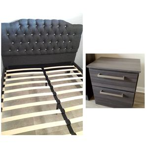 New queen Grey bed frame and one nightstand mattress is not included for Sale in Coconut Creek, FL