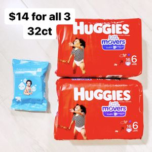 2 Packs Of Size 6 (35+ Lbs) Huggies Little Movers (32 Baby Diapers) + 1 Pack 20ct WlPES for Sale in Anaheim, CA