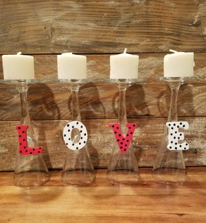 Valentines day candle holders, candles included. Glass for Sale in Riverside, CA