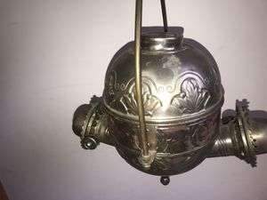 Beautiful antique hanging oil lamp. Made by angle for Sale in Alexandria, VA