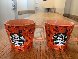 Starbucks Summer 2020 Floral Ceramic Mugs Set. TWO Ceramic Red Hibiscus flower mugs, 14 OZ. for Sale in Carpinteria, CA