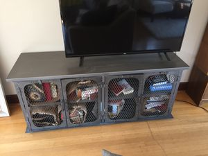 Dark grey tv stand with storage for Sale in Seattle, WA