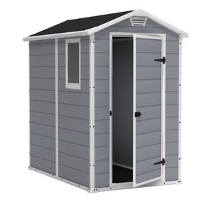 Keter Manor 4' x 6' Resin Storage Shed, All-Weather Plastic Outdoor Storage, Gray/White for Sale in Grand Prairie, TX