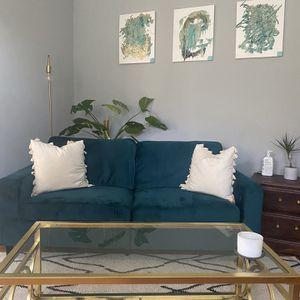 Green Velvet Couch for Sale in Atlanta, GA