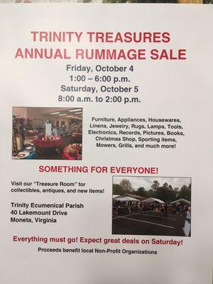 Huge Church Rummage Sale for Sale in Moneta, VA