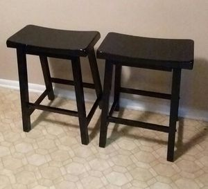 (Two) Ebony Black/Solid Wood Stools (Excellent Condition) for Sale in Birmingham, AL