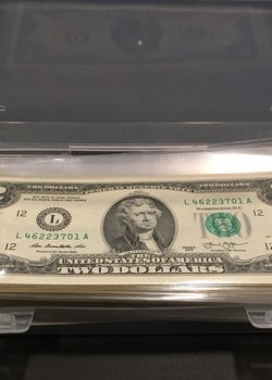 Uncirculated Two Dollar Bills Sequential Lot of 100 Notes for Sale in Ladera Ranch,  CA