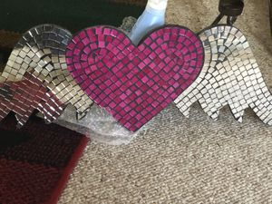 "Mirrored mosaic ""Heart w/Wings"" wall plaque for Sale in Golden, CO"