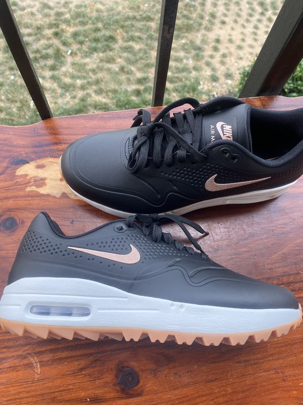 Nike Air Max 1 Golf Black Gum Shoes Airmax women's size 7.5