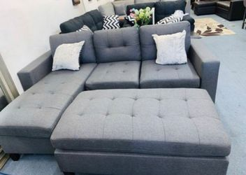 Brand New Grey Linen Sectional Sofa Couch + Ottoman for Sale in Laurel,  MD