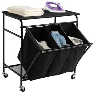 HollyHOME Laundry Sorter Cart with Unopenable Ironing Board with Side pull 3-Bag Heavy-Duty Laundry Hamper and 4 Wheels for Sale in San Diego, CA
