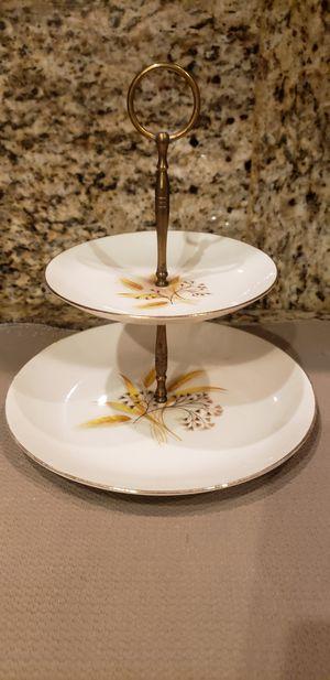 Vintage/Antique Fine Bone China Wheat Design 2 Tier Serving Stand for Sale in Sunrise, FL