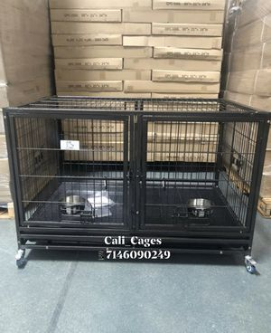 Dog pet cage kennel size 43 with divider tray feeding bowls and wheels for Sale in Chino, CA