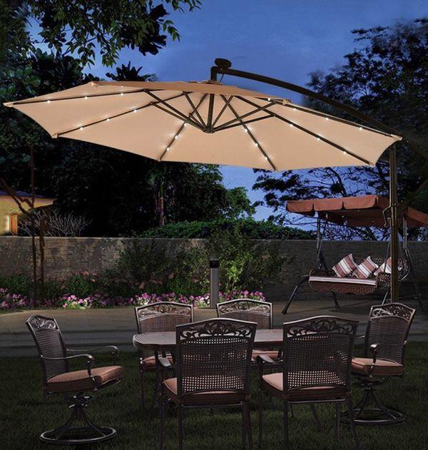 10' Hanging Patio Umbrella Sun Shade with Solar Powered LED Lights Pool Backyard Deck Tan