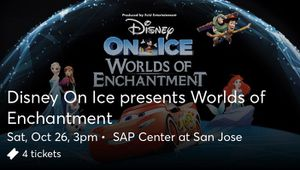 130$ 4tickets to Disney On Ice. Saturday 10/26 for Sale in Concord, CA