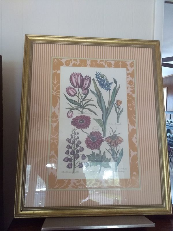 Flower picture with glass cover surface and golden frame