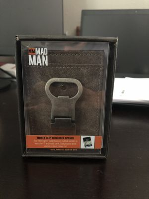 Mad Man Brown and black Leather Wallet Money Clip Bottle Opener for Sale in Tampa, FL