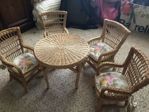 American girl doll wicker table and chairs for Sale in Bradenton, FL