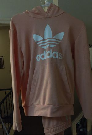 Adidas pink peach fit hood and zip style pants with waistband retails 189 never wore nothing wrong never washed asking 130 for Sale in Nashville, TN