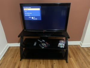 36 inch Viera Panasonic LCD tv with a black three tier glass stand for Sale in Stamford, CT