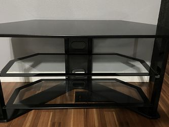 Thick Glass Tv Stand - Black - 3 Tiers for Sale in Federal Way,  WA