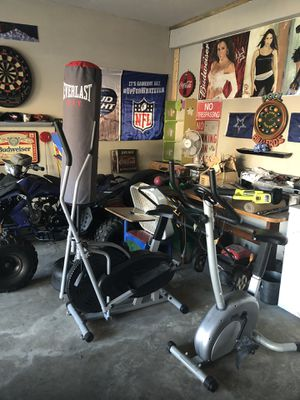 Ever last punching bag ,bcp elliptical, jamz fitness paddle bike , workout equipment for sale for Sale in Mansfield, TX