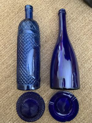 Cobalt Blue glass bottles, 2 crystal ash trays for Sale in San Diego, CA