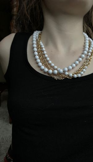 White beaded and gold chain necklace for Sale in Spokane, WA