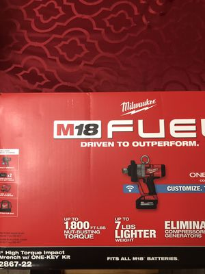 """Milwaukee M18 Fuel 1"""" High Torque Impact Wrench w/ One-Key kit. Brand new. Never used. Price is FIRM. All offers will be ignored for Sale in Hialeah, FL"""
