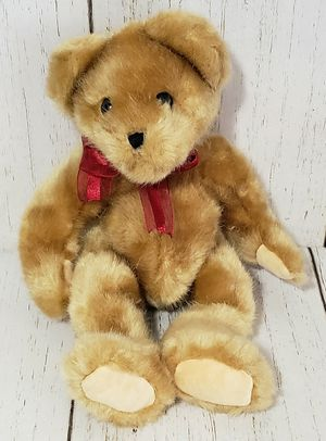 "Burton Burton Golden Brown Teddy Bear Plush w/ Red Ribbon 2005 Stuffed Toy 14"" for Sale in Harrisonburg, VA"