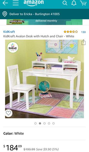 KidKraft Avalon Desk with hutch and chair - White for Sale in Burlington, KY