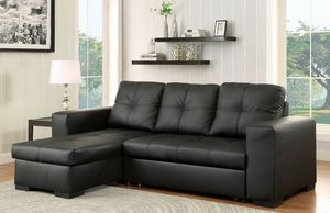Black PU leather sofa sectional couch with pullout bed/Yes We Finance 😁 Message To Apply Today / No Credit Needed - Order Today! for Sale in Downey, CA