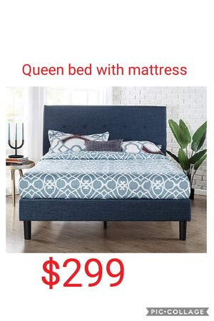 Queen bed frame with mattress for Sale in Las Vegas, NV
