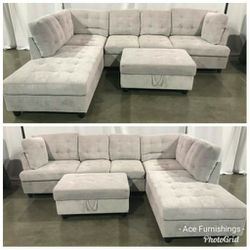 Brand New Grey Chenille Fabric Sectional for Sale in Spanaway,  WA