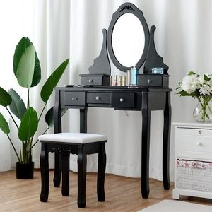 Mirrored Jewelry Wooden Vanity Table Set With 5 Drawers-Black for Sale in Whittier, CA