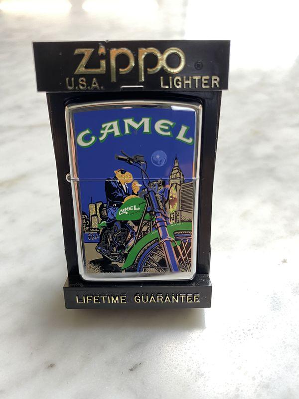Vintage Retired Unstruck Zippo - 1997 Joe Camel Moon & Motorcycle Lighter NYC