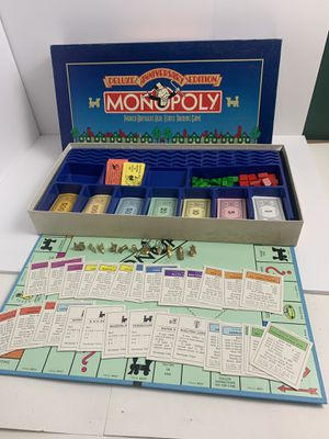 1985 MONOPOLY DELUXE ANNIVERSARY EDITION Board Game Parker Brothers 50 Yrs for Sale in Elgin, IL