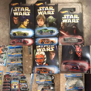 Hot wheels Disney Star Wars avengers marvel collectible die cast toy cars $2 ea for Sale in Colton, CA