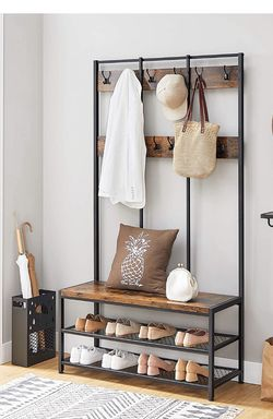 Large Coat Rack Stand, Coat Tree with 12 Hooks and Shoe Bench in Industrial Design, Hall Tree, Multifunctional Hallway Shelf for Sale in Rancho Cucamonga,  CA