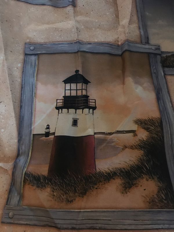 Charming Lighthouse Shower Curtain With Hooks Included