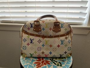 Louis Vuitton White Multi-Colored Monogram Canvas Trouville Satchel Bag-USED for Sale in Bedford, TX