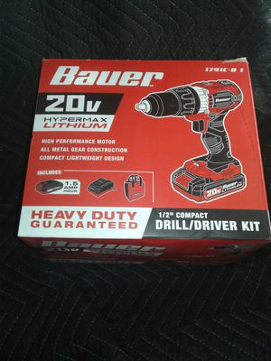 Bauer 20 volt 1/2 inch compact drill/driver kit for Sale in Holiday, FL