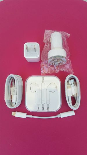Apple Combo Bundle/Brand New Original Apple IPhone Charger and Car Charger and Headphones with Headphone adapter for IPhone 7,8,9,10 and Newer for Sale in Lincoln Acres, CA