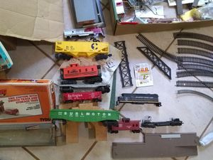 Miscellaneous toy train items, track, cars, engines, trucks and buildings for Sale in Lawrenceville, GA
