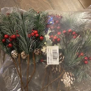 16 Pack Artificial Pine Picks Pinecone Red Berries Branches Christmas Pine Needles for Sale in Knightdale, NC