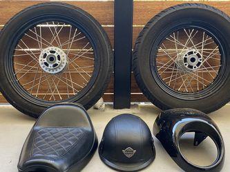 Harley Seat Shield Helmet Spoke Rims Wheels for Sale in Los Angeles,  CA