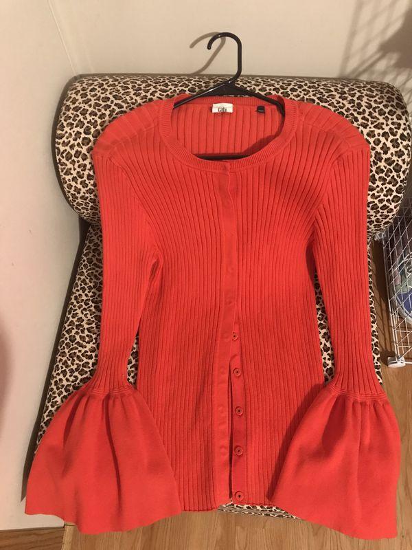 Cabi Large button up fringe sleeve sweater brand new!